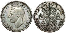 World Coins - Great Britain. king George VI. AR Half Crown 1939. Toned XF