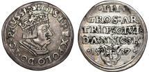 "World Coins - Poland. Danzig. king Sigismund I ""Old"" (1506-1548). AR SCARCE 3 Gross 1537. Nice XF, toned"