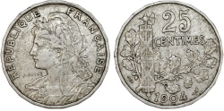 World Coins - France. Republic.  NI 25 Centimes 1904. XF