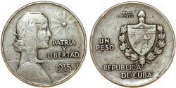 "World Coins - Cuba. Republic. Silver 1 ""ABC"" Peso 1935. About VF"