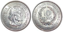 World Coins - Uruguay. Republic. AR Commemorative 10 Pesos 1961. UNC