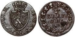 World Coins - Germany. United Nassau. Wilhelm. CU 1/4 Kreuzer 1822. Choice XF
