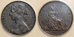 World Coins - Great Britain. Queen Victoria (1837-1901) Bronze Penny 1861. ANACS AU53 BN