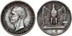 World Coins - Italy. Vittorio Emanuele III. AR 5 Lire 1927R. XF