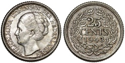 World Coins - Islands of Curacao under Netherlands Rule. Queen Wilhelmina. AR 25 Cents 1943P. AU/UNC