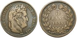 World Coins - France. king Louis Philippe (1830-1848). Silver 5 Francs 1835 K. About VF, toned.