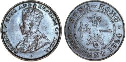World Coins - British Colony: Hong Kong. King George V. AE 1 Cent 1924. XF