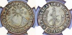 """World Coins - Ecuador. Republic. Silver 2 Reales 1836 """"QUITO del ECUADOR"""" NGC VF25, RARE!"""