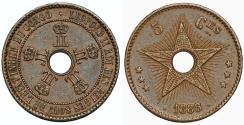 World Coins - Congo. Royal Dominion of Belgium Crown. Leopold II. CU 5 Centimes 1888/7. Choice XF