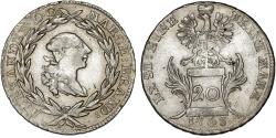 World Coins - German States: Brandenburg-Ansbach. Alexander (1757-1791). AR 20 Kreuzer 1763. VF+