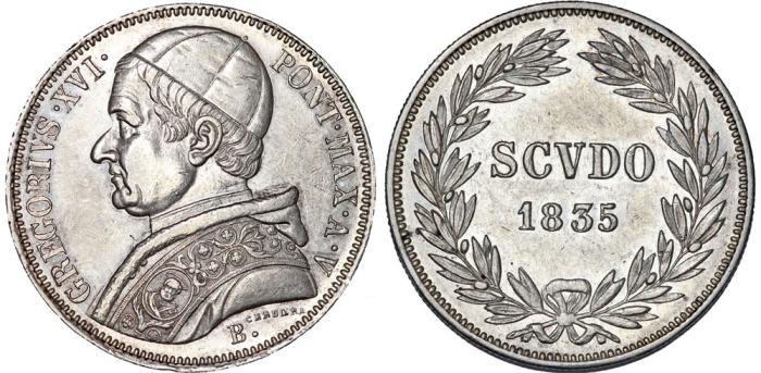 World Coins - Italian Papal States. Bologna. Pope Gregor XVI (1831-1846). AR Scudo 1835. XF/AU