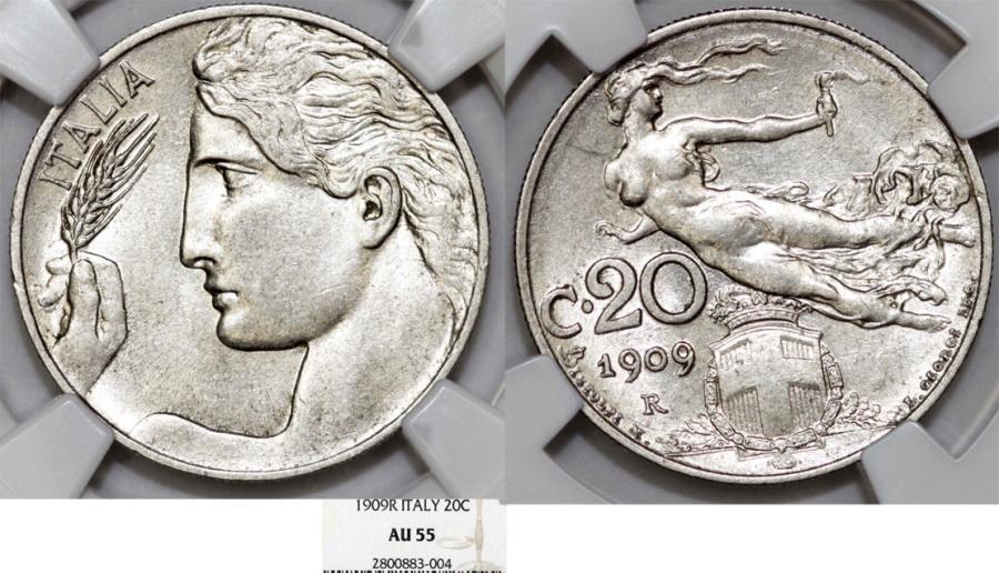 World Coins - Italy. Vittorio Emanuele III. NI 20 Centesimi 1909R. NGC AU58
