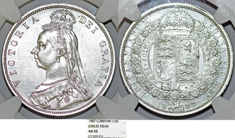 Great Britain  Queen Victoria (1837-1901) AR Nice Half Crown 1887  NGC AU55