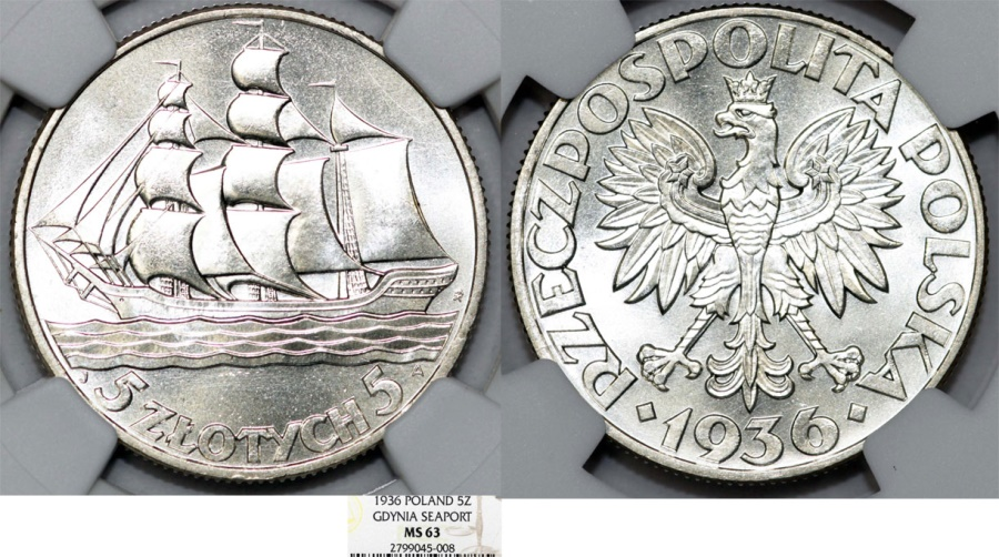 World Coins - Poland. II Republic. Ship. AR 5 Zlote 1936. NGC MS63, Choice UNC