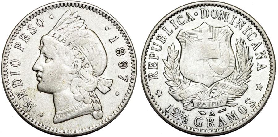 World Coins - Dominican Republic. AR 1/2 Peso 1897. XF