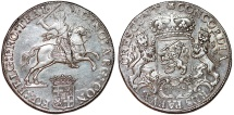World Coins - Netherlands. Utrecht. AR Ducatone called: Silver Rider 1758. AU, great mint luster.