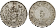 World Coins - British North Borneo. George V. CuNi 5 Cents 1927H. Choice XF