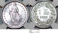 World Coins - Switzerland. Federation. AR 1 Franc 1920 B. NGC MS63