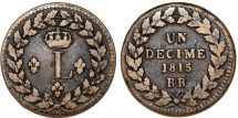 World Coins - France. Strasbourg Provisional Issue. Luis XVIII (1814-1815). AE 1 Decime 1815. Nice Choice VF