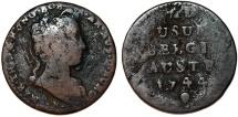 World Coins - H.R.E. Austrian Netherlands. Belgium. Maria Theresa (1740-1780). AE Liard 1744. VG