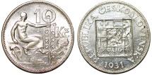 World Coins - Czechoslovakia. Republic. Silver 10 Korun 1931. UNC