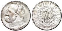 World Coins - Poland. II Republic (1918-1939). AR 10 Zloty 1938. Choice XF