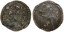 World Coins - Italian Papal States. Bologna. Paul V (1605-1621). AE Quattrino 1610. Fine