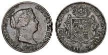 World Coins - Spain. Isabel II. CU. 25 Centimos 1858. Nice AXF