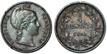 World Coins - Venezuela. CU 1/4 Centavo 1843 WW. Nice XF