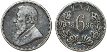 Z.A.R. South Africa. Silver 6 Pence 1896. About VF