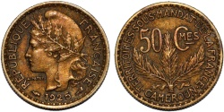 World Coins - French Colony of Cameroon. Aluminium-Bronze 50 Centimes 1925 A. XF RARE!