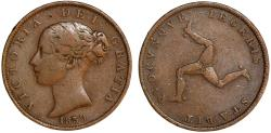 World Coins - Isle of Man. Queen Victoria. CU 1/2 Penny 1839. VF