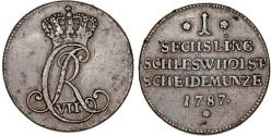 World Coins - Germany. Schleswig-Holstein under Denmark Christian VII (1784-1808). ACu Sechsling 1787, Nice VF