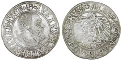 World Coins - Duchy of Prussia (Ex-Teutons State). Albrecht von Hohenzollern (1525-1568) Silver Gross 1538, VF