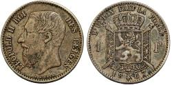 World Coins - Belgium. Kingdom. Leopold II. AR 1 Franc 1867. VF