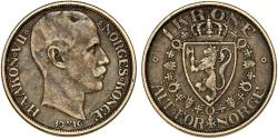 World Coins - Norway. Haakon VII (1905-1958). Silver Krone 1916. Choice VF, toned
