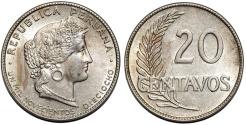 World Coins - Peru. Republic. Nice CuNi 20 Centavos 1919. UNC