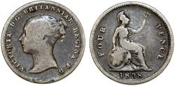 World Coins - Great Britain. Victoria. 1838-1901. Silver 4 Pence (Groat) 1838. Fine+