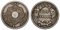 World Coins - Peru. CU-NI 2 Centavos 1863. VF
