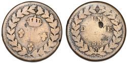 World Coins - France. Strasbourg Provisional Issue. Luis XVIII (1814-1815). AE 1 Decime 1815. VG+