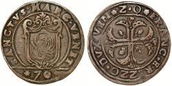 World Coins - Italian States: Venice. Doge Francesco Erizzo (1631-1646). Silver 1/2 Scudo della Croce da 70 Soldi (1641-1642). Good VF+
