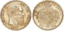 World Coins - Belgium. Leopold II. Gold 20 Francs 1877. Choice XF