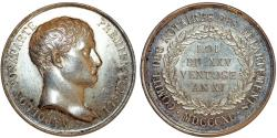World Coins - France. Silver medal by A Barre. Commemorarting 25 years of Commitee of Notaries 1840. Choice AU