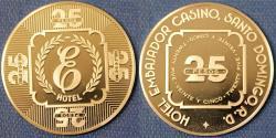 World Coins - Dominicana. Commemorative Casino Token of 25 Pesos from Embajador Casino. Proof!