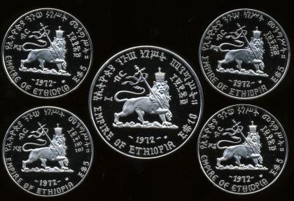 World Coins - ETHIOPIA. Haile Selassie. 1930-1974. AR Proof Set of 5 coins in original case.