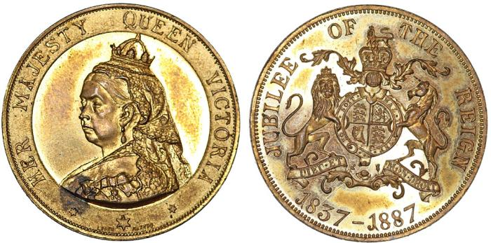 World Coins - Great Britain. Queen Victoria. Golden Jubilee of The Reign Bronze Medal 1887. PROOF