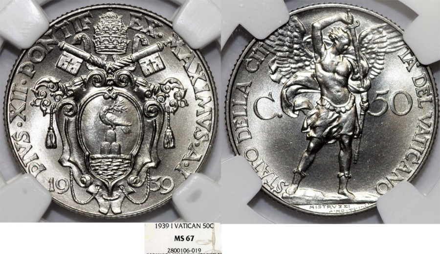World Coins - Vatican City. Pope Pius XII (1939-1952). 50 Centesimi 1939. NGC MS67!