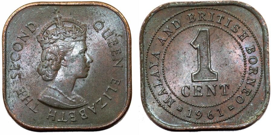 Malaya and British Borneo  AE 1 Cents 1961  UNC