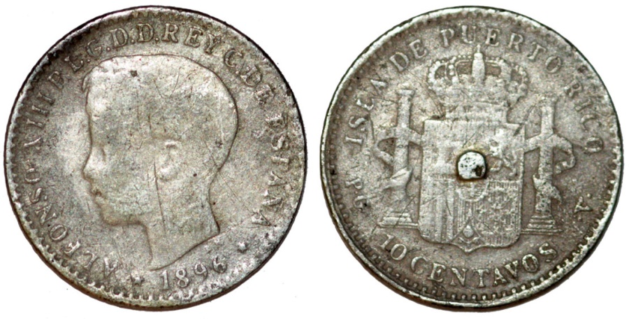 World Coins - Puerto Rico. Alfonso XIII. AR 10 Centavos 1896. Fine, tooled