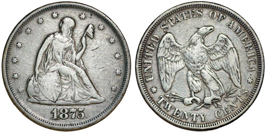 US Coins - USA. Twenty Cents 1875. Toned VF